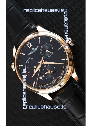 Jaeger LeCoultre Master Geographic Power Reserve Pink Gold Black Dial Swiss Replica Watch