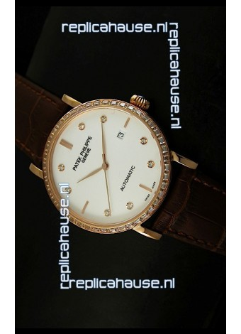 Patek Philippe Calatrava 5298 Swiss Replica Watch in Pink Gold Casing - Diamonds Hours