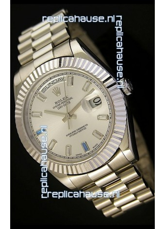 Rolex Day Date II 41MM Swiss Replica Watch - Steel Dial - 1:1 Mirror Replica Watch