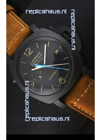 Panerai Luminor PAM00580 1950 3 Days Chrono Flyback Ceramica Watch P.9100 Movement