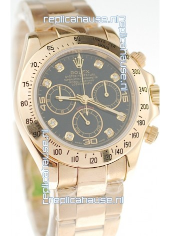 Rolex Daytona Cosmograph 2011 Edition Swiss Replica Gold Plated Watch in Black Dial