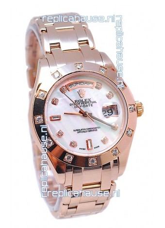 Rolex Day Date White Mother of Pearl Swiss Replica Watch