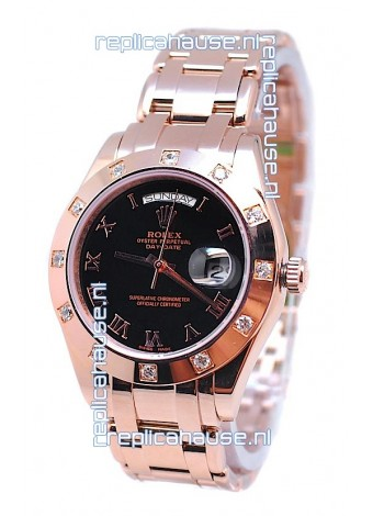Rolex Day Date Rose Gold Swiss Replica Watch in Black Dial