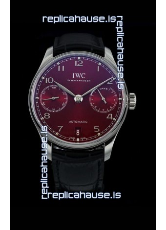 IWC Portugieser Swiss IW500714 1:1 Mirror 904L Steel Watch Burgundy Dial Watch