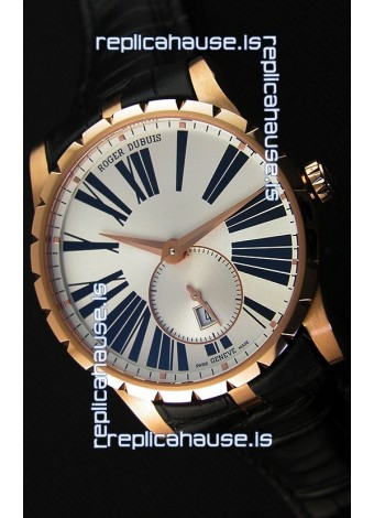 Roger Dubuis Excalibur RDDBEX0587 Pink Gold Steel White Dial Swiss Replica Watch
