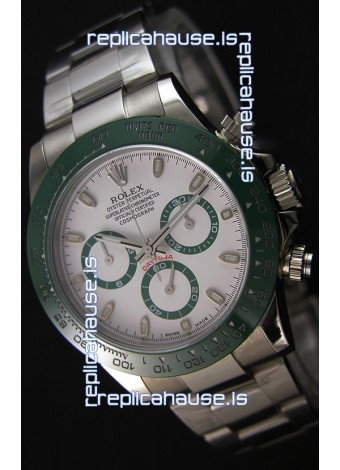 Rolex Cosmograph Daytona White Dial Green Ceramic Original Cal.4130 Movement - Ultimate 904L Steel Watch