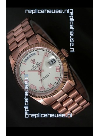 Rolex Day Date Swiss Rose Gold Watch in White Dial