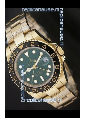 Rolex GMT Master II Swiss Replica Gold Watch in Green Dial