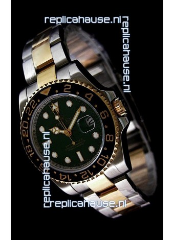 Rolex GMT Master II Swiss Replica Two Tone Gold Watch in Black Ceramic Bezel