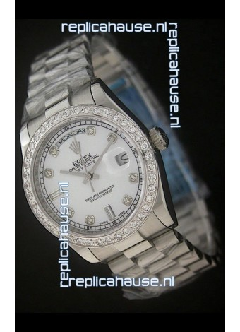 Rolex Day Date Just swissReplica Watch in Pearl White Dial