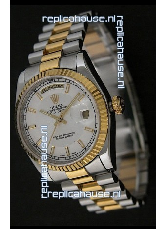Rolex Day Date Just swiss Replica Two Tone Gold Watch in White Dial