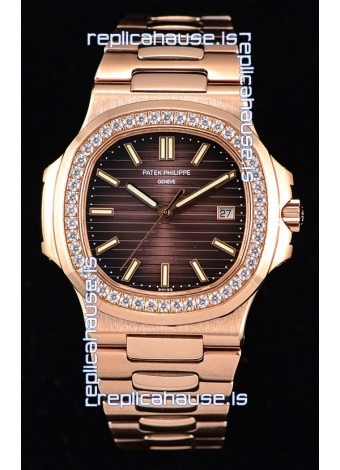 Patek Philippe Nautilus 5711/1R 1:1 Mirror Watch Rounded Diamonds Bezel