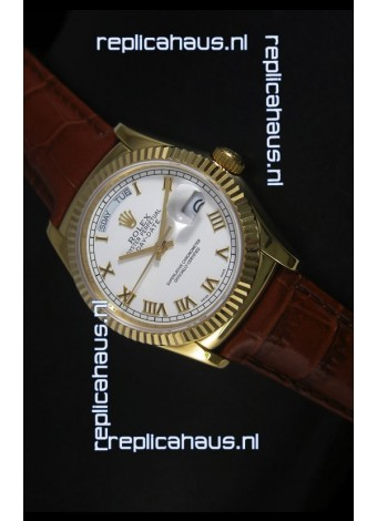 Rolex Day Date 36MM Yellow Gold Swiss Replica Watch - White Dial