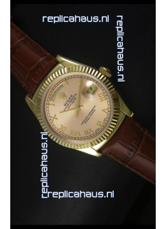 Rolex Day Date 36MM Yellow Gold Swiss Replica Watch - Champange Dial
