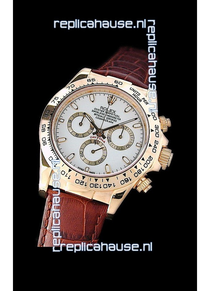 Rolex Daytona Cosmograph Swiss Replica Gold Watch In Brown Leather