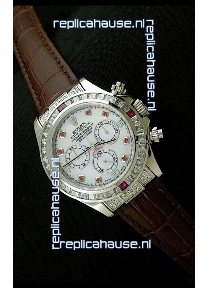 109d36747d7 Rolex Oyster Perpetual Cosmograph Daytona Swiss Replica Watch in Brown Strap