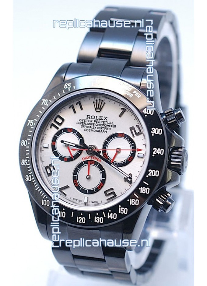 4b7a23a8b54 Rolex Cosmograph Project X Editions Black Out Daytona Swiss Replica Watch  in White Dial