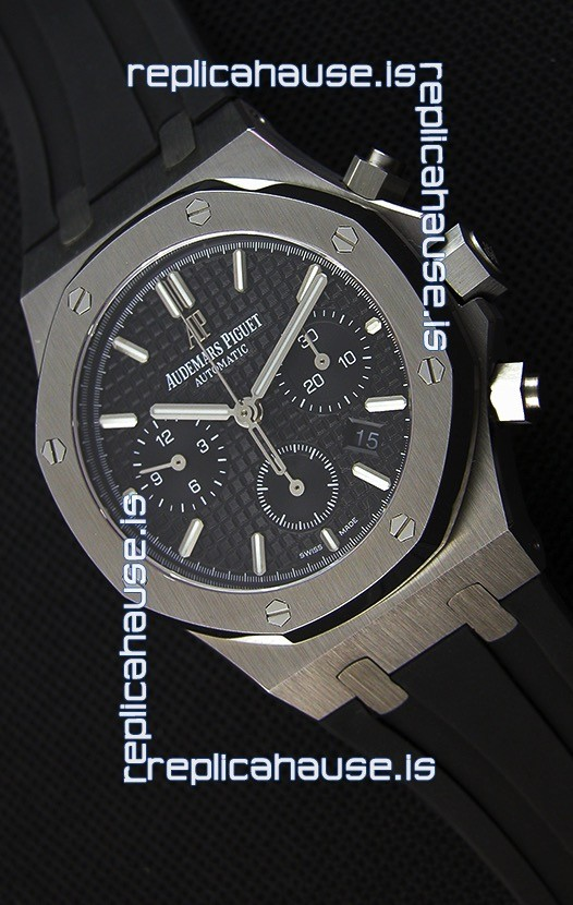 69faac04790 Audemars Piguet Royal Oak Chronograph Black Dial Rubber Strap Swiss Replica  Watch