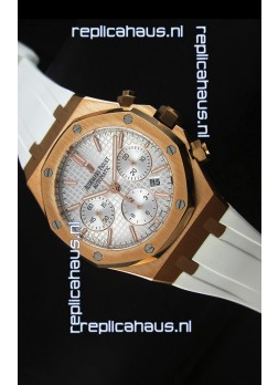 Audemars Piguet Royal Oak Chronograph Watch in Yellow Gold in Polished White Dial