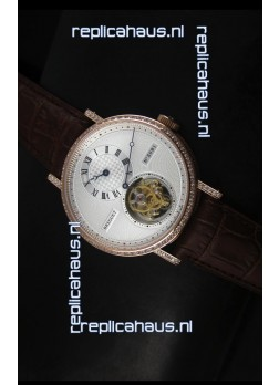 Breguet Classique Tourbillon Swiss Replica Watch in Rose Gold with Diamonds Bezel