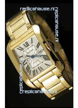 Cartier Tank Anglaise Mid Sized Swiss Watch Yellow Gold - 1:1 Mirror Replica Watch