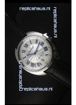 Cle De Cartier Watch 40MM Steel Case with Leather Steap - 1:1 Mirror Replica Watch