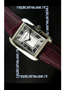 Cartier Tank Ladies Replica Watch in Steel Case/Maroon Strap