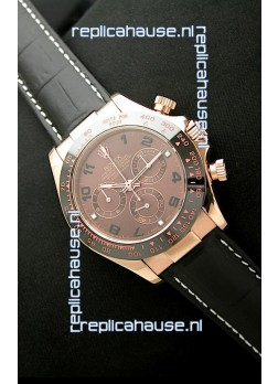 Rolex Oyster Daytona Cosmograph Swiss Replica Rose Gold Watch in Brown Dial