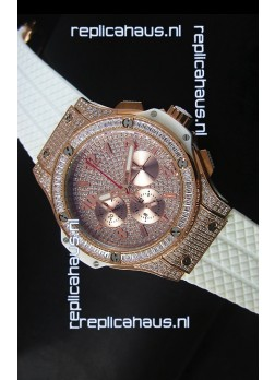 Hublot Big Bang Rose Gold Watch Quartz Movement in White Strap