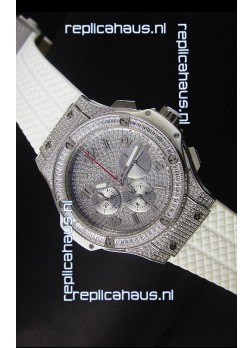 Hublot Big Bang Rose Stainless Steel Watch Quartz Movement in White Strap