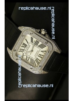 Cartier Santos 100 1:1 Mirror Replica Steel Diamonds Watch Mens Size 42MM