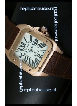 Cartier Santos 100 1:1 Mirror Replica Rose Gold Watch 42MM