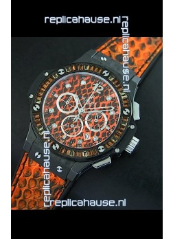Hublot Big Bang 34MM Ladies Watch in Quartz Movement - Orange Dial/Strap