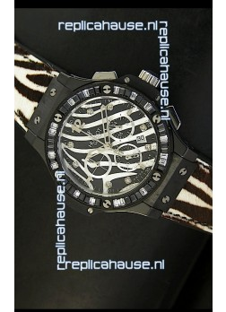 Hublot Big Bang White Zebra Bang Edition in Black PVD Case 34MM Watch