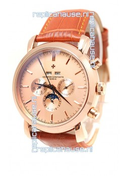 Vacheron Constantin Malte Perpetual Chronograph Japanese Replica Watch in Brown Strap