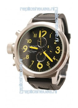 U-Boat Flightdeck Japanese Replica Watch in Black Dial