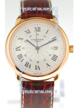 Ronde De Cartier Louis Swiss Replica Pink Gold Watch