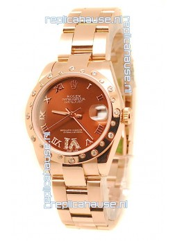 Rolex Datejust Swiss Replica Rose Gold Watch in Brown Dial  - 36MM