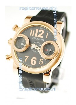 Graham Swordfish Japanese Replica Gold Watch in Golden Markers
