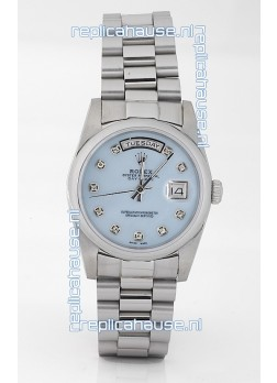 Rolex Day Date Silver Swiss Replica Watch in Mother Of Pearl Blue Dial