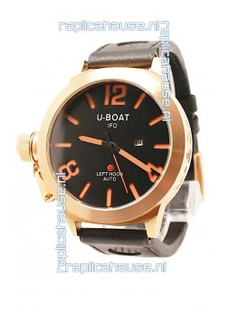 U-Boat Classico Japanese Gold Watch in Black Dial