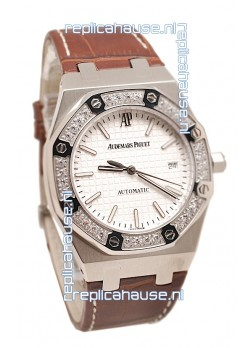 Audemars Piguet Royal Oak Steel Swiss Watch in Brown Leather Strap