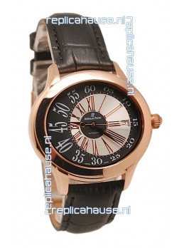 Audemars Piguet Millenary Hour and Minute Swiss Replica Rose Gold Watch in Black Strap