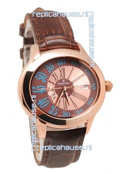 Audemars Piguet Millenary Hour and Minute Swiss Replica Rose Gold Watch in Brown Dial