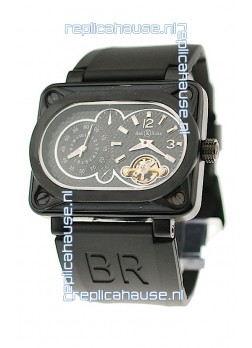 Bell and Ross BR Minuteur Tourbillon PVD Japanese Watch in Black Dial