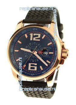 Chopard 1000 Miglia GT XL GMT Japanese Replica Gold Watch in Dark Blue Dial