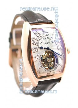 Franck Muller Aeternitas Tourbillon Swiss Replica Gold Watch in Black Strap