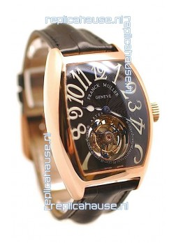Franck Muller Aeternitas Tourbillon Swiss Replica Gold Watch in Black Dial