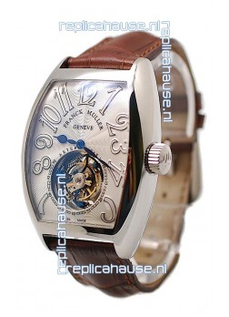 Franck Muller Aeternitas Tourbillon Swiss Replica Gold Watch in Brown Strap