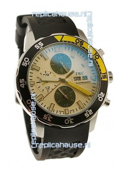 IWC Aquatimer Chronograph Japanese Replica PVD Watch in Black/Yellow Bezel